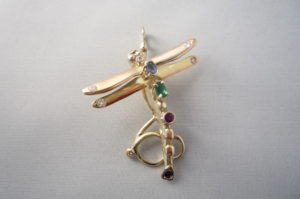 gold dragonfly pendant created by helen burrell