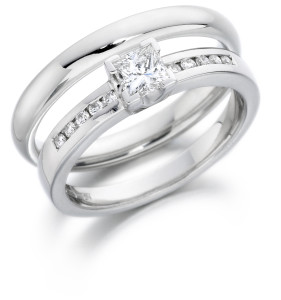 Diamond engagement and white gold wedding ring, A 'Charles Green' set