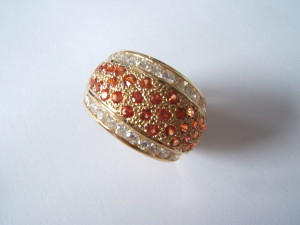 orange sapphires and Gvs quality dIamond ring replica