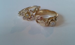 rings created on the theme of a garden in 18ct gold and set with diamonds.