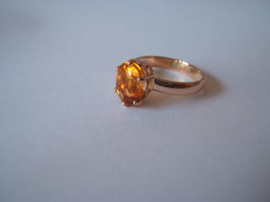 rose gold and fire opal ring