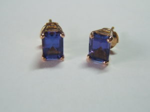 tanzanite and 18ct rose gold studs