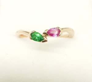 """<imgsrc=""""single double pear ring by helen burrell'alt=gold ring with pearshaped stones set in a gold ring by helen burrell"""">"""
